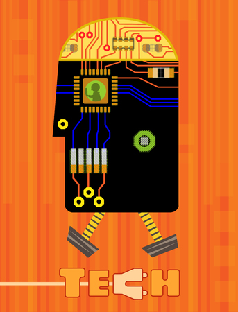 Stylized technology gadget robot shaped made from printed circuit board elements, and the word tech at the bottom.