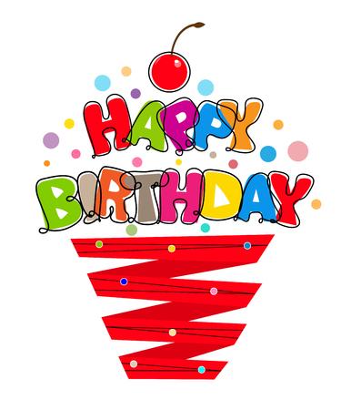 Stilizzato segno di compleanno a forma di un bigné a base di nastro e un colorato testo di buon compleanno. Archivio Fotografico - 57658847