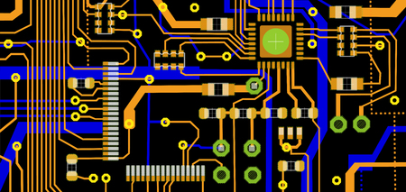 electronic board: Colorful illustration of a circuit board