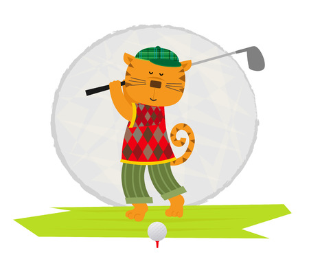 cats playing: Cartoon clip art of a cat playing golf