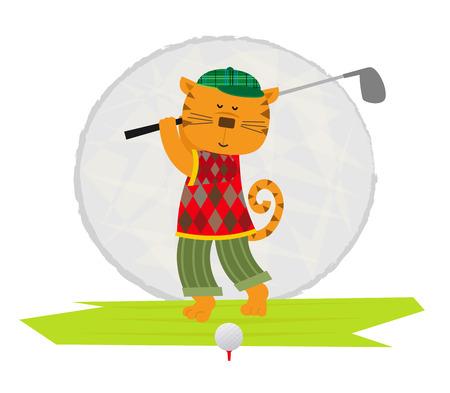 clip art: Cartoon clip art of a cat playing golf
