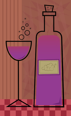grape juice: Stylized design of a wine bottle and glass on a decorative background