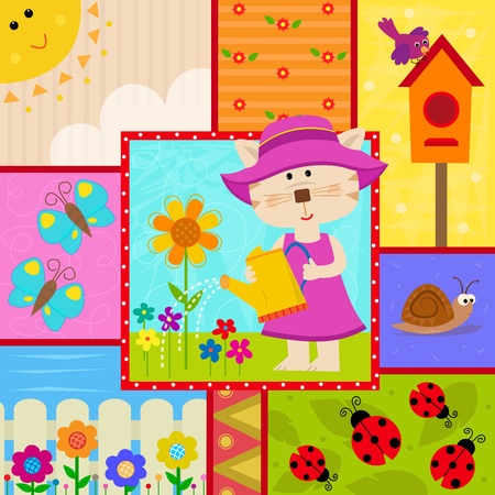 watering plants: Cute garden themed design of a cat watering plants, butterflies, ladybugs, birdhouse and more.
