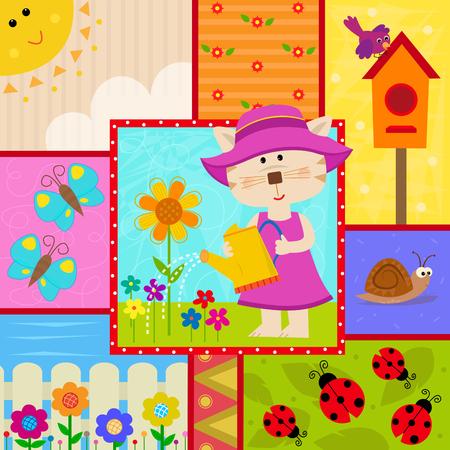 regar las plantas: jardín linda del diseño de un gato regar las plantas, mariposas, mariquitas, pajarera y más temático. Vectores