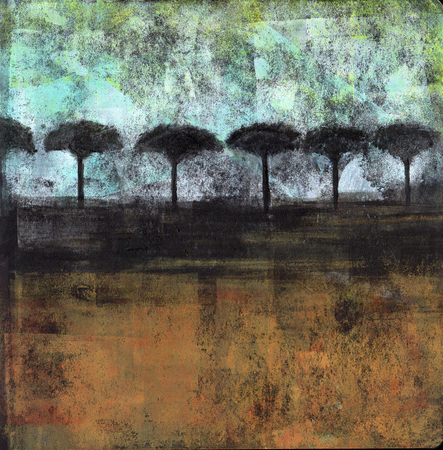 Acrylic painting of an abstract landscape with silhouetted trees. Banco de Imagens
