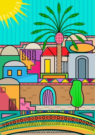 Artistic and colorful Jerusalem greeting card. Illusztráció