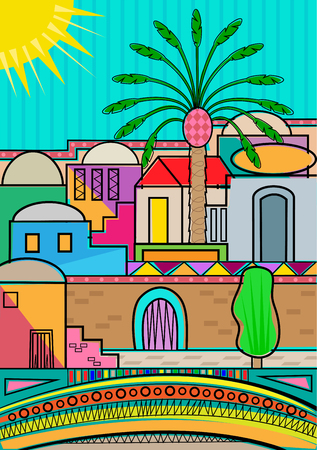 old city: Artistic and colorful Jerusalem greeting card. Illustration