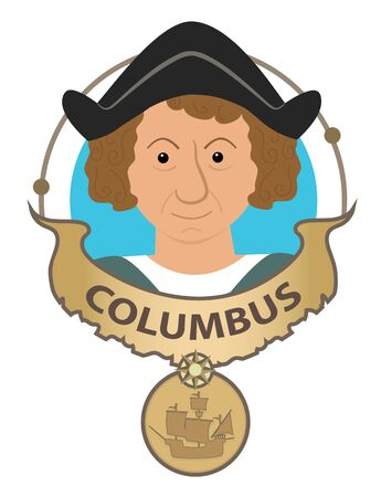 christopher columbus: Columbus cartoon with his name and his ship.