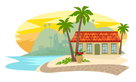 Spanish style inn with palm trees, brick road and silhouette of a town in the background. Stock Illustratie