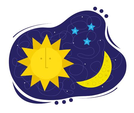 Zon, maan en sterren symbool. Stock Illustratie