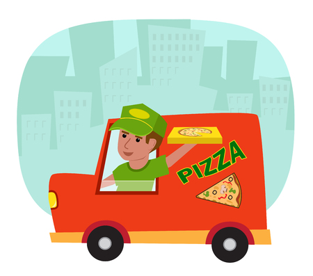 worker person: Pizza delivery truck with pizza delivery guy and a silhouette of a city in the background. Illustration