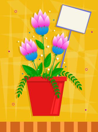 노란색 장식 배경 앞의 빨간 냄비에 핑크 꽃. 일러스트