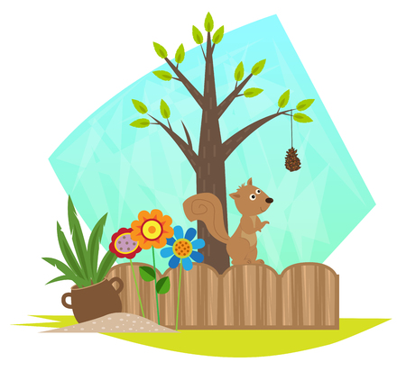 pinecone: Cute squirrel is standing on a garden fence and looking at a branch with a pine cone hanging from it.