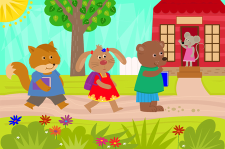 going: Cute fox, rabbit and a bear are going back to school.