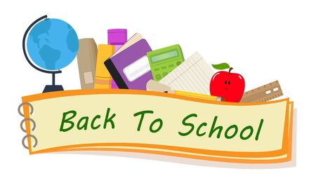 Back to school banner with school items.