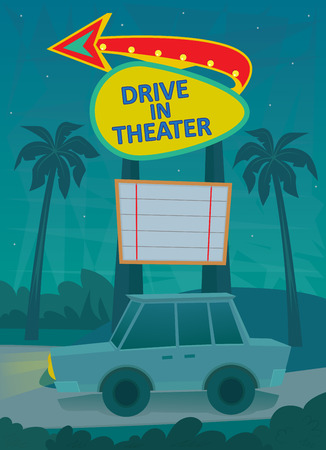 A night scene of a drive in theater entrance, with a neon sign and a car driving by.