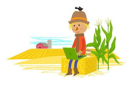 Cute scarecrow sits on haystack with his laptop, and a view of a countryside behind him.