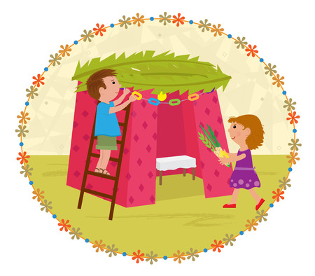 Cute clip art of a boy and a girl decorating Sukkah.