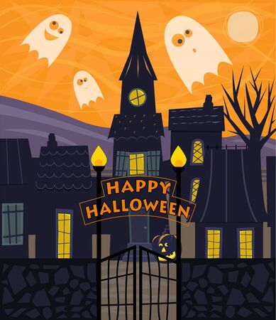 Halloween greeting card of a silhouetted town with Happy Halloween sign and cute ghosts.