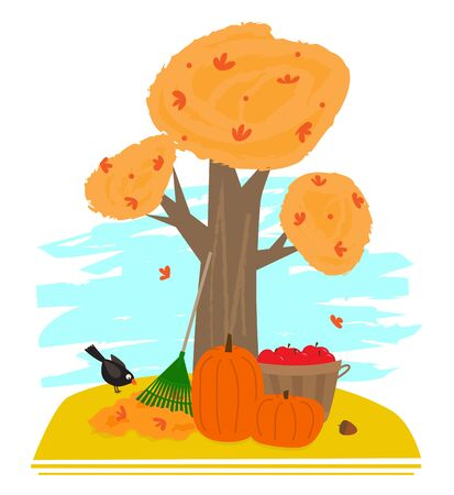 Tree in autumn, leaf rake, pumpkins, and bucket with apples.