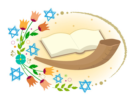 yom kippur: Horn with open book and flowers with stars of David around it. Illustration
