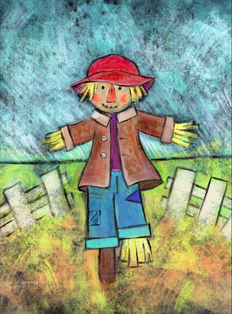 white fence: Acrylic painting of a scarecrow standing in a field with a white fence behind him.