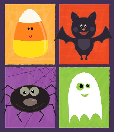 Cute Halloween design with ghost, spider, candy corn and a bat.