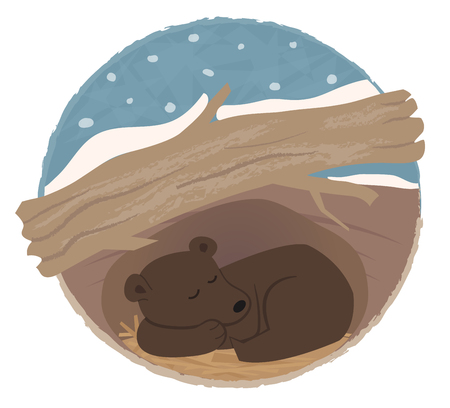 hibernate: Clip art of a bear sleeping in his den.