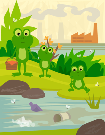 river rock: Frogs on a picnic day, looking at a dirty river, with a view of a factory behind them. Illustration