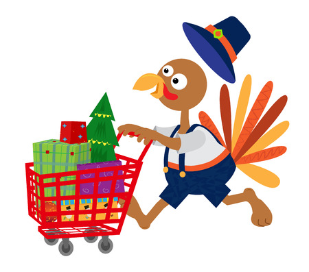 Turkey with a pilgrim clothes pushing a shopping cart full of presents. Eps10