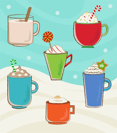 eggnog: Vector set of six winter holidays mugs with hot drinks.