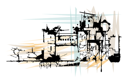 Stylized illustration of a town in ruins. Illustration