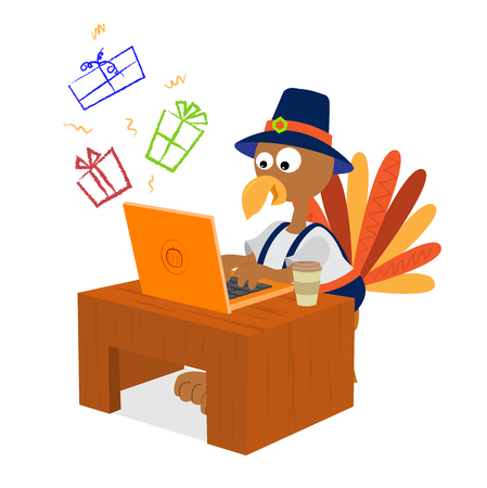Turkey wearing pilgrim clothes is shopping for presents online. Illustration