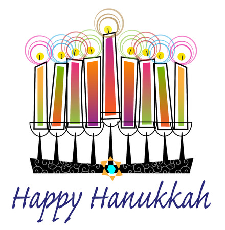 Stylized menorah with colorful candles and Happy Hanukkah text.