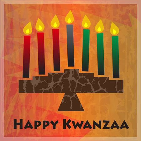 Kinara and Happy Kwanzaa text on orange abstract background. Ilustração