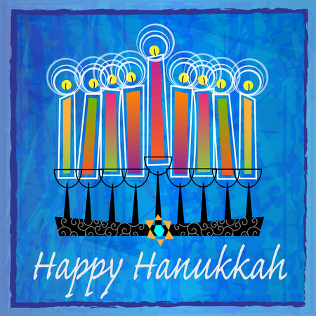 Stylized menorah with colorful candles and Happy Hanukkah text on blue abstract background.