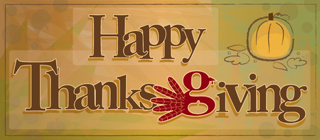 Decorative happy Thanksgiving text on abstract background. Illustration