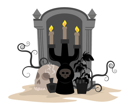 Halloween candle holder, potion, skull and carnivorous plant in front of a tombstone Ilustracja