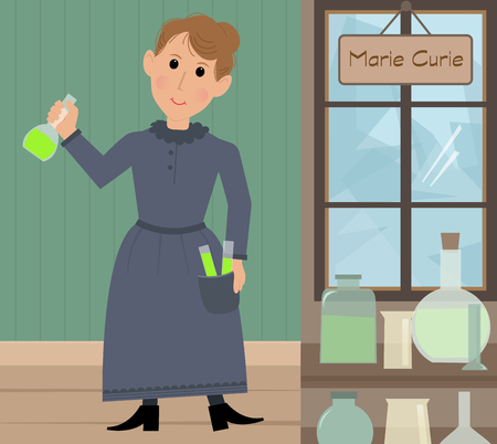discovering: Cute cartoon of Marie Curie in her lab holding a test tube with radium. Illustration