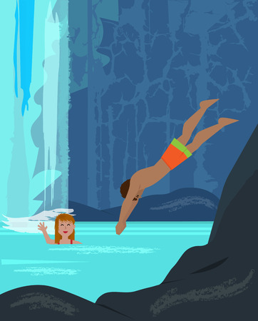 away travel: Man and a woman are having fun in a pool near a waterfall. Illustration
