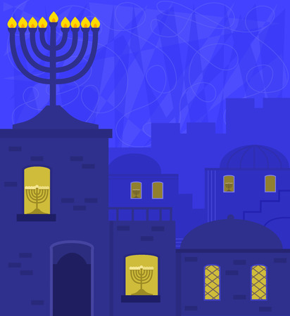 Hanukkah design of an old city at night, with big menorah on top of a roof and small ones on windowsill.