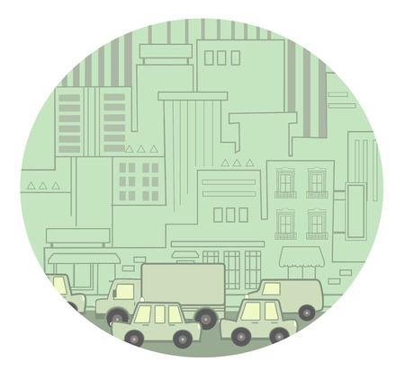busy city: Stylized Icon of a busy street with traffic congestion. Illustration
