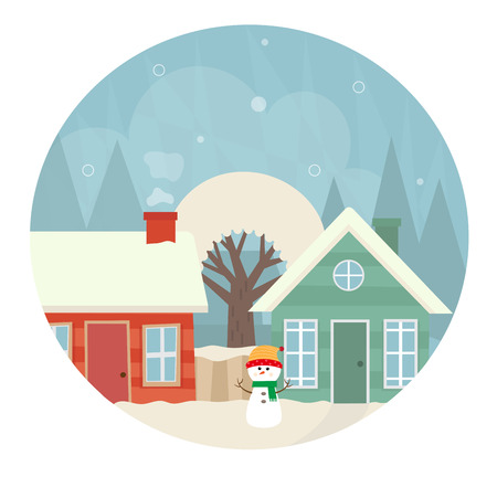 neighboring: Cute icon of a neighboring houses in snow.