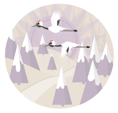 Two red crowned cranes are flying over a snowy landscape.