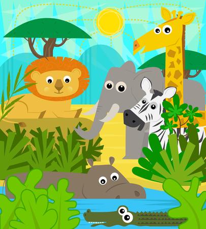 animaux de bébé mignon de bande dessinée au zoo. eps10
