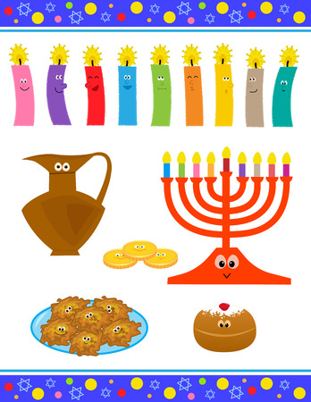 Cheerful cartoon set of Hanukkah symbols with cute faces.