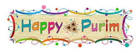 Happy Purim colorful banner. Eps10 Иллюстрация