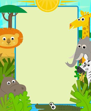 animales safari: Diseño lindo de un signo en blanco y Safari animales alrededor de él. eps10