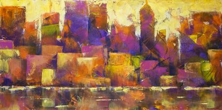 Het acryl schilderen van een kleurrijke skyline van de stad.