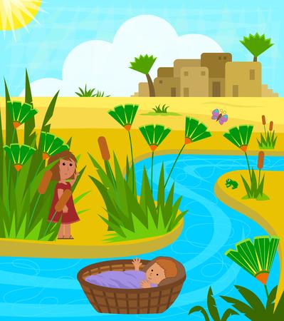 遠くから彼を見守って姉と赤ちゃんモーセにはナイル川のキュートなイラスト。Eps10
